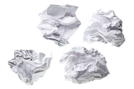 creased: crumpled paper ball isolated on a white backgroun Stock Photo