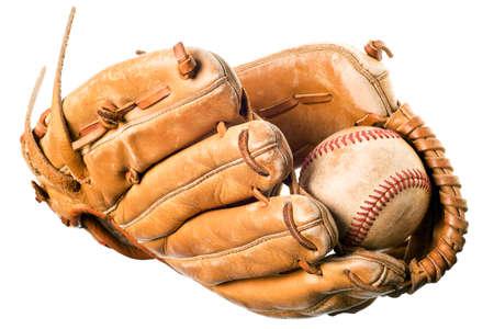 mitt: baseball in mitt isolated on white background