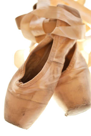 pointe: ballet slippers in a well-worn condition Stock Photo