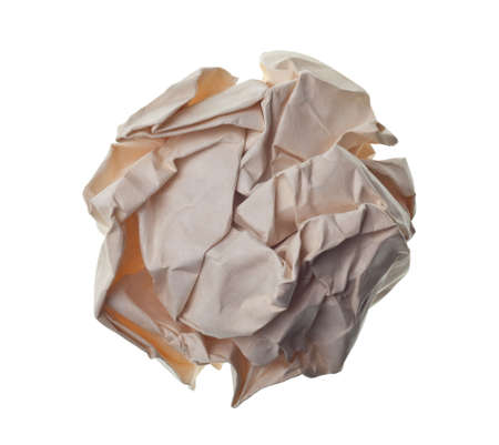 crumpled paper ball isolated on a white backgroun Banco de Imagens