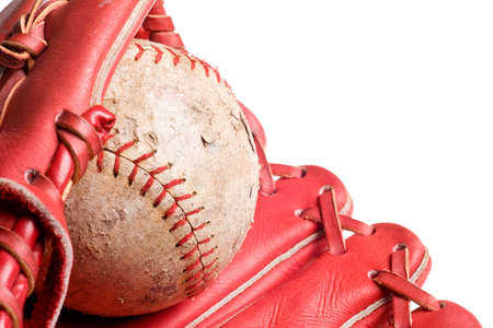 baseball in mitt isolated on white background photo
