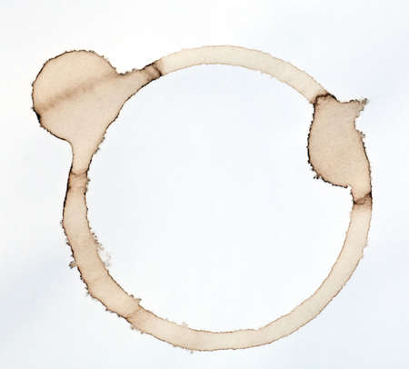 coffee stain isolated on a  white paper background