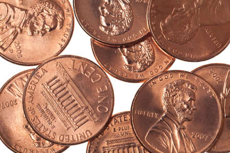 pennies: pennies isolated on a pure white background