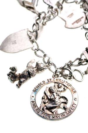 silver medal: antique st. christopher medal charm on bracelet
