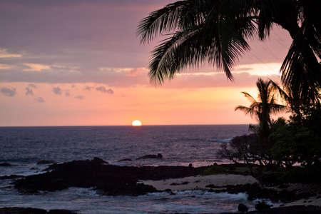 kona: Coastal view on the Big Island of Hawaii with lava rocks at sunset Stock Photo
