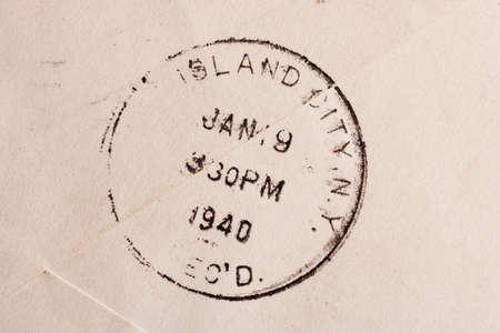 poststempel: Vintage vergilbte Umschlag mit Poststempel Stempel