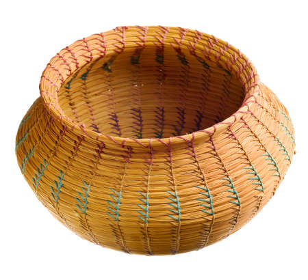 cherokee: Cherokee handwoven basket isolated on white background