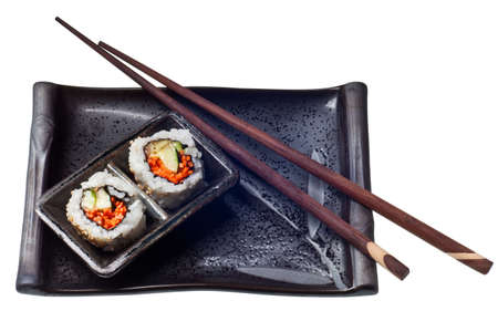 Vegetarian sushi California roll with rice and seaweed isolated on white background Stock Photo