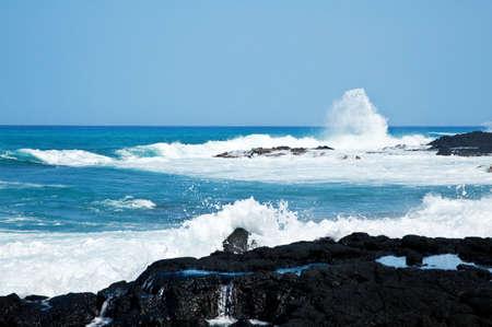 Coastal view on the Big Island of Hawaii with lava rocks Stock Photo - 5246272