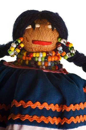 Native American Seminole handmade doll isolated on white