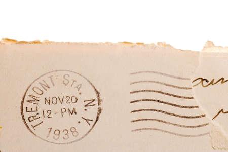 postmark: Vintage yellowed envelope with postmark stamp Stock Photo