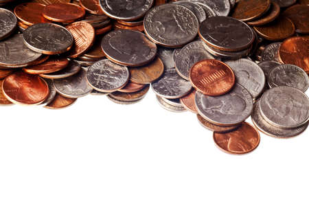 nickle: pennies, nickles, dimes, and quarters macro background