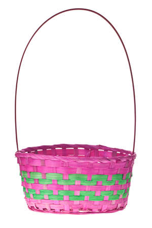 empty basket: Easter basket isolated on pure white background