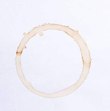 stain: coffee ring stains on white paper background Stock Photo