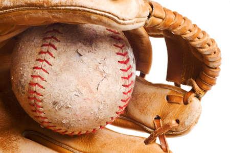 softball in mitt isolated on white background photo