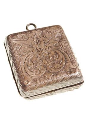 medaglione: antico medaglione d'argento isolato su sfondo bianco Archivio Fotografico