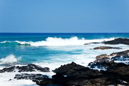 pacific islands: Coastal view on the Big Island of Hawaii with lava rocks