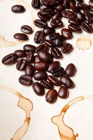coffee beans on a parchment paper background photo