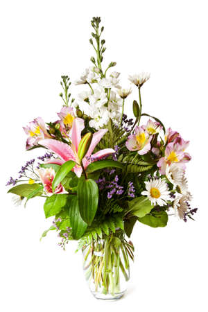 bouquet of flowers isolated on a white table Banco de Imagens