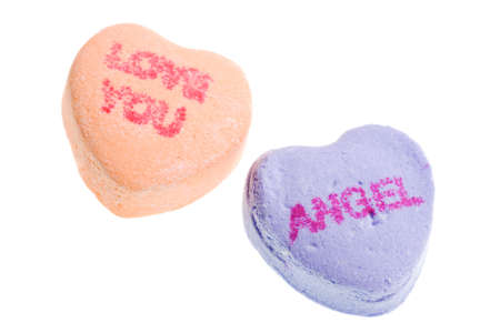 Valentine's Day Candy Hearts Isolated on White Background