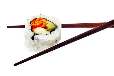 Vegetarian sushi California roll with rice and seaweed isolated on white background photo