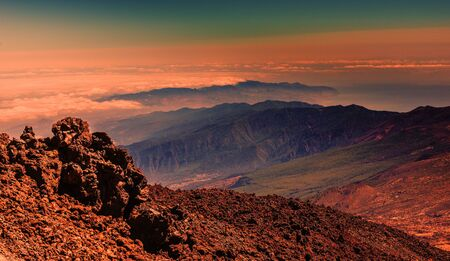 Beautiful landscape in sunset on Teide