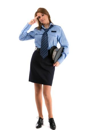 poliziotta: Bella signora in uniforme di ufficiale di polizia su uno sfondo bianco