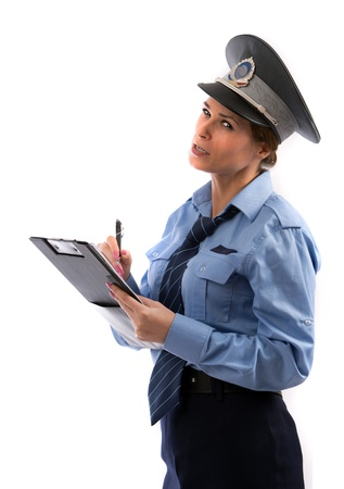 Lady cop write a ticket on white background isolated