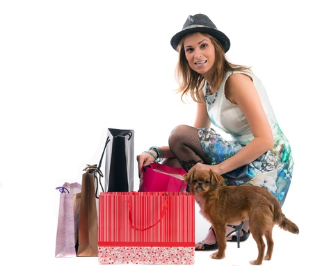 lady with dog shopping isolated on white background