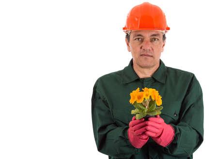 horticulturist: gardener with a flowerpot in hand