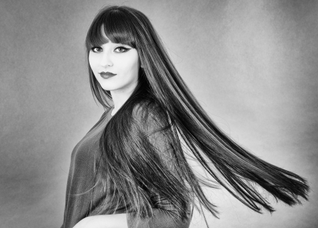 Portrait of young beautiful woman with extra long glossy hair Stock Photo - 19050592