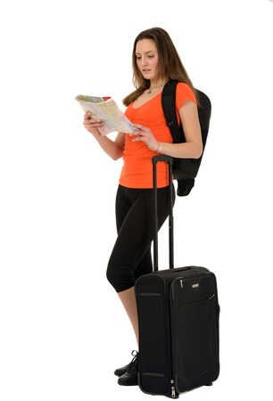 a beautiful woman tourist with a map in hand luggage isolated on white background