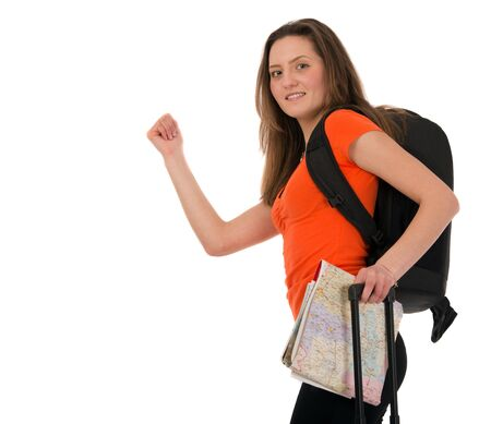a beautiful tourist woman with baggage showing sign isolated on white background Stock Photo - 19147549
