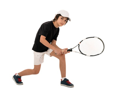raquet: portrait of a handsome boy with a tennis racket isolated on white background Stock Photo