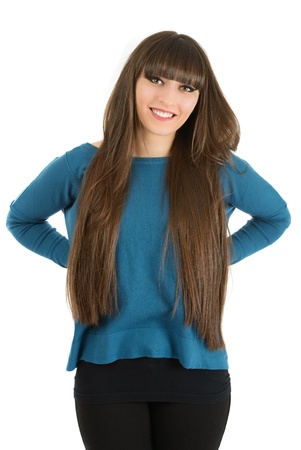 Portrait of lovely woman with long hair on white background
