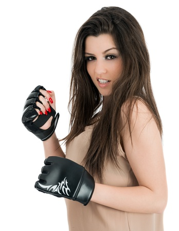 studio shot of beautiful female boxer photo