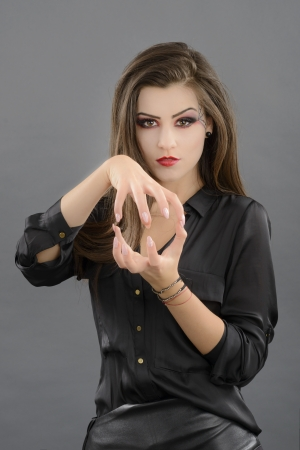 beauty portrait of young glamour beautiful halloween woman photo