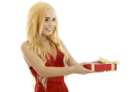 very cute and sexy blonde woman in red lingerie showing a gift box
