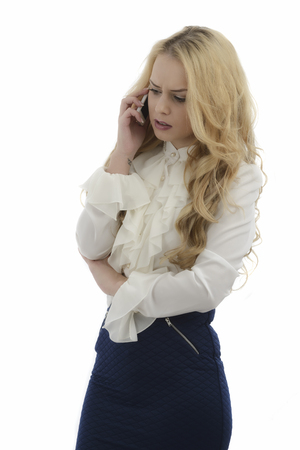 hour glass figure: Pretty woman gasps in shock at what she hears on her phone, isolated on white background. Stock Photo
