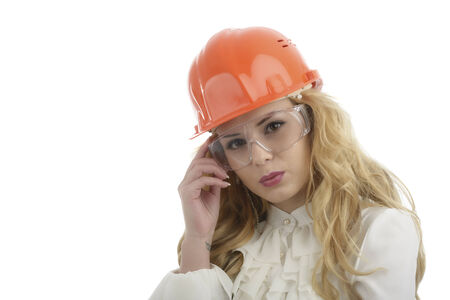 engeneer: Worker contractor woman  Isolated on white background