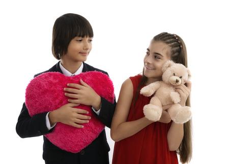 two children, best friends concept of Valentine photo