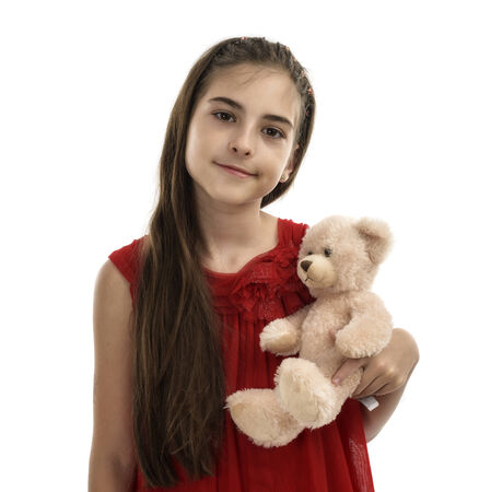 young girl with a teddy bear