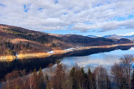 Landscape with dam lake Vidraru, in Romania
