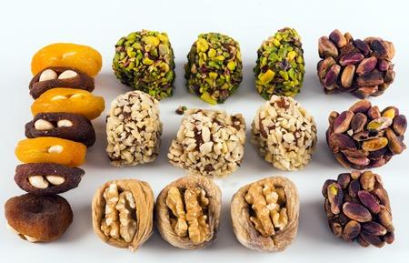 Mixed Turkish dessert on white background Stock Photo