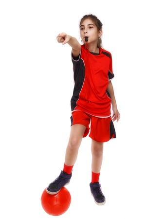 child soccer judge cu fluier isolated on white background photo
