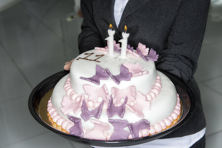 eleventh birthday: birthday cake with candles for eleven years