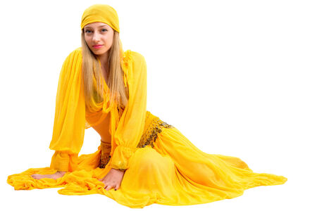 attractive woman in traditional costume gypsy photo