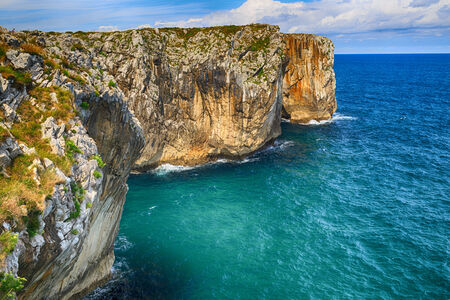beautiful scenery with the ocean shore in Asturias, Spain photo