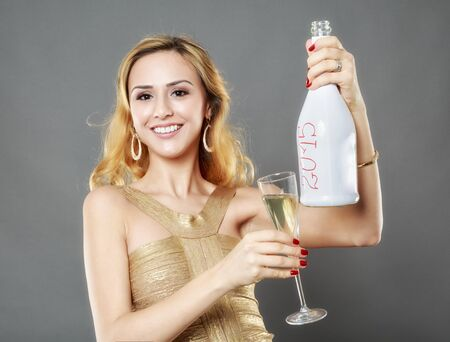 anniversary sexy: Beautiful woman having a glass of champagne Stock Photo