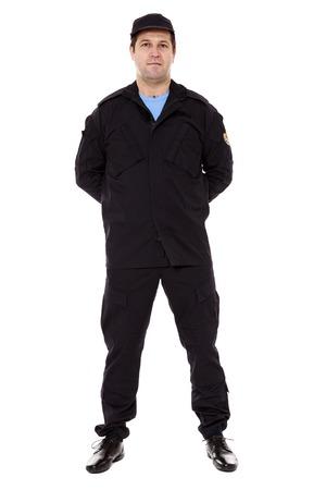 officier de police: garde de s�curit� complet du corps isol� sur fond blanc Banque d'images